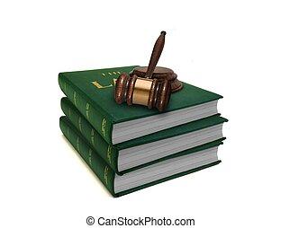 pila, de, libros de ley, y, martillo