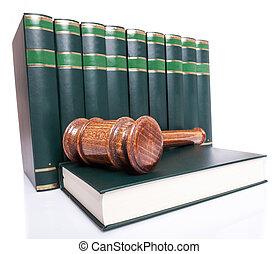 pila, de, libros de ley, y, un, juez, martillo