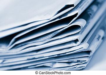 pila, de, periódicos, toned, azul