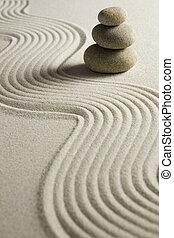 pila, de, piedras, en, raked, arena