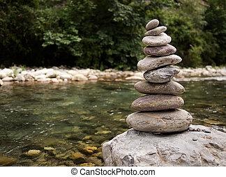 pila, de, piedras, guijas, por, río