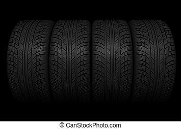 pila, de, rueda de coche