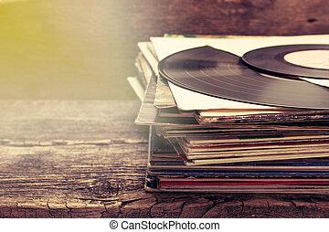 pila, de, viejo, registros