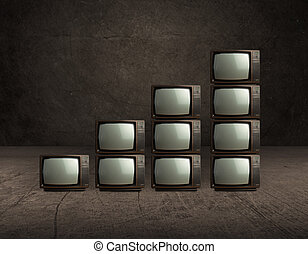 pila, de, viejo, televisión