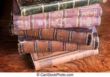 pila, di, anticaglia, libri, difensore