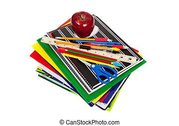 pila, di, manuali, con, rifornimenti scuola, cima