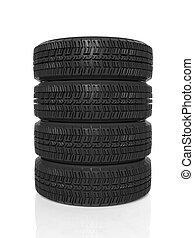 pila, di, quattro, nero, pneumatici, isolato, bianco, fondo
