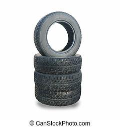 pila, di, quattro ruota, nuovo, nero, inverno, pneumatici, per, automobile