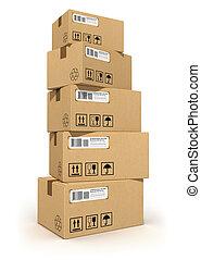 pila, di, scatole cartone