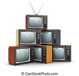 pila, di, vecchio, tv