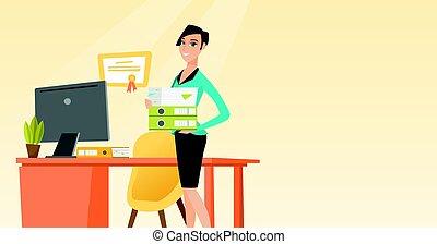 pila, folders., trabajador, tenencia, oficina