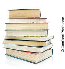 pila libri, su, uno, sfondo bianco
