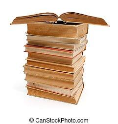 pila, libros, viejo