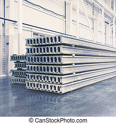 pila, losas, precast, fábrica, concreto, taller, reforzado