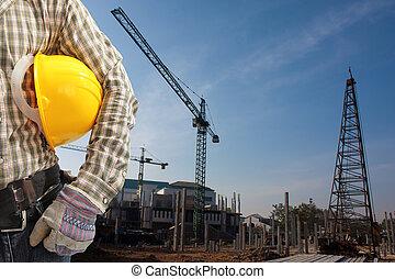 pila, pilas, construcción, área, conjunto, conductor, 4, precast, trabaja, concreto