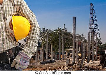pila, pilas, construcción, área, conjunto, conductor, precast, trabaja, concreto