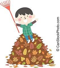 pila, rastrillo, hojas, niño, niño, otoño, ilustración