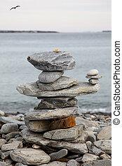 pila, rocas