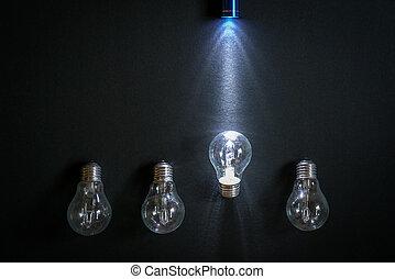 pila, splendere, uno, bulbo, luce