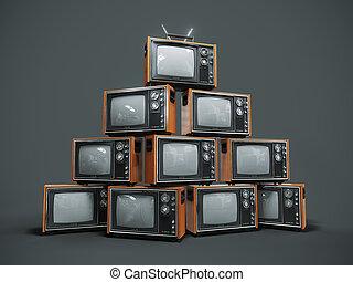 pila, tv, viejo, plano de fondo, retro, oscuridad
