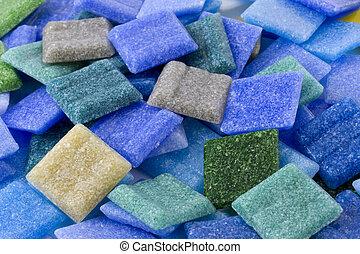 pila, vidrio, mosaico, flojo, azulejos