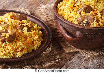 pilaf, con, carne, y, vegetales, primer plano, horizontal