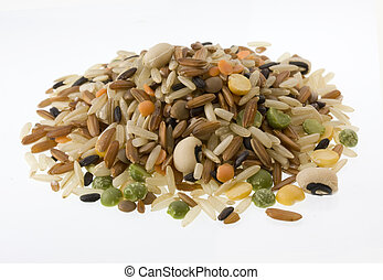 pilaf mix with brown and black, Japanica rice, black eye, split green, yellow pea, lentils