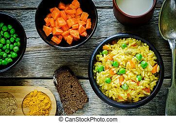 pilaf, vegetariër, wortels, erwtjes, indiër, groene, ...