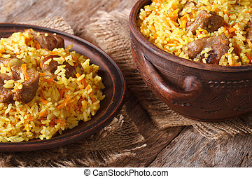 pilaf with meat and vegetables closeup horizontal - pilaf...