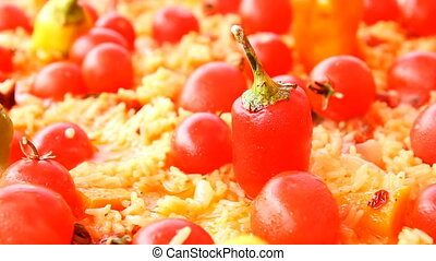 Pilaf with tomato and red pepper