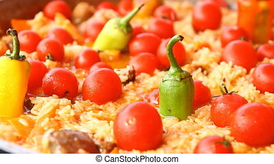 Pilaf with tomato and pepper