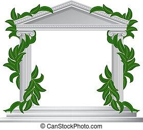 pilar, marco, griego, columna, romano, o, templo, frontera