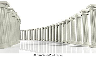 pilares, aislado, antiguo, mármol, arreglo, elíptico, blanco