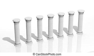 pilares, aislado, antiguo, mármol, fila, blanco
