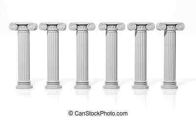 pilares, antiguo, seis, aislado, fondo., blanco