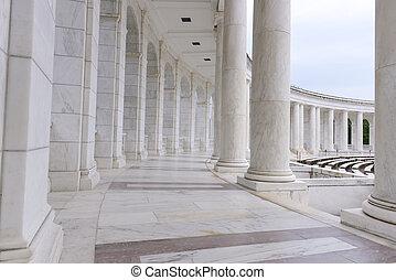 pilares, corredor, arco