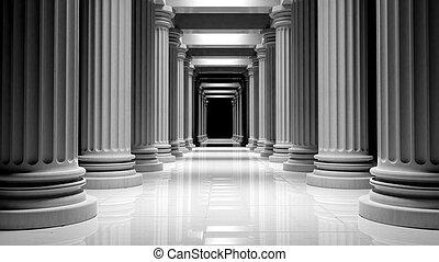 pilares, edificio, dentro, mármol, fila, blanco