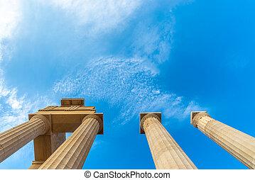 pilares, grego, antiga, acrópole, lindos