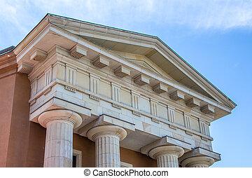 pilares, grego, close-up