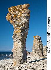 pilares, ilha, gotland, pedra calcária