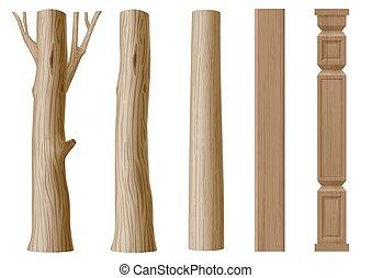 pilares, madera, conjunto