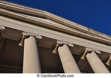 pilares, ou, colunas, céu azul
