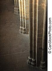 pilares, para, céu, em, miessen, catedral