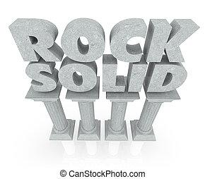 pilares, pedra, sólido, confiança, estabilidade, palavras, ...