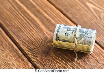 pilas, de, dólares, billetes de banco, en, escritorio de...