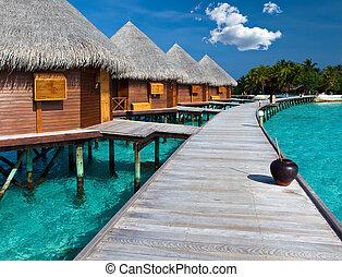 pilas, isla, maldives., océano, chalet, agua