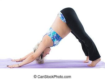 pilates, achtergrond, spannen, maken, gezondheid, witte , pose, vrouw, zwangere , fitness, sportende, yoga, concept