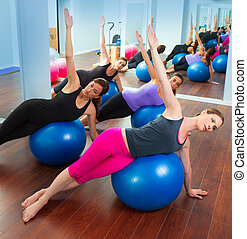 Pilates aerobic women group with stability ball - Pilates...