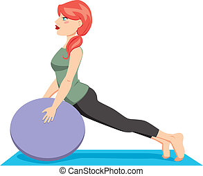 Pilates Ball Exercise - Pretty red hair woman with pony tail...