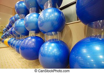 pilates balls in fitness club